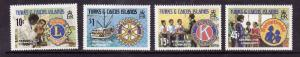Turks & Caicos Is.-Sc#452-5-unused NH set-Lion's club-Kiwanis-Rotary-1980-