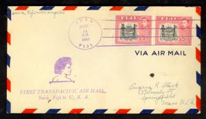 FIJI FFC 1941 First Flight Cover Suva to LOS ANGELES USA
