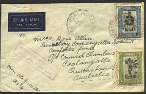 PAPUA 1940 Army Concession rate airmail cover Port Moresby to Australia....93351