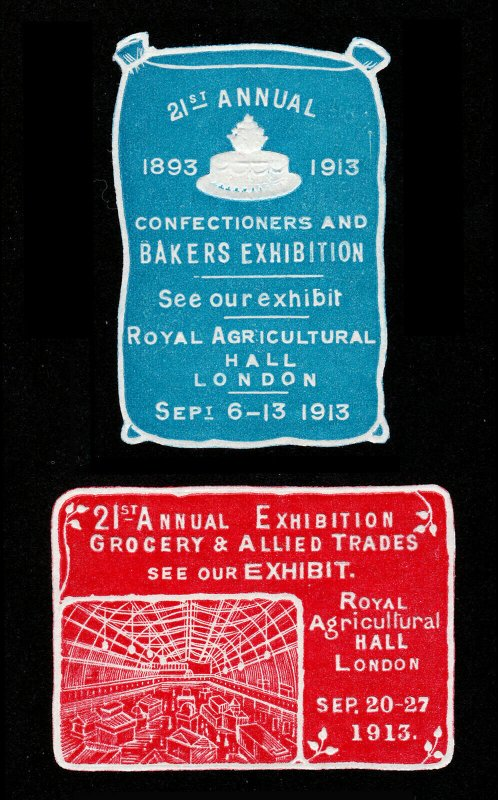 POSTER STAMPS 21ST ANNUAL EXHIBITION CONFECTIONERS BAKERS & GROCERY LONDON 1913