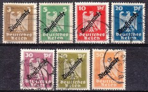 Stamp Germany Official Mi 105-11 Sc O53-9 1924Dienst Reich Inflation Used