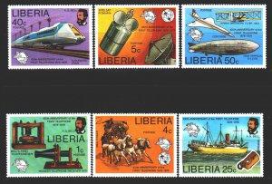 Liberia. 1976. 997-1002. Postal transport, satellite, horses. MNH.