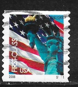 USA 3969: (39c) First Class Flag and Liberty, plate no single, used, VF