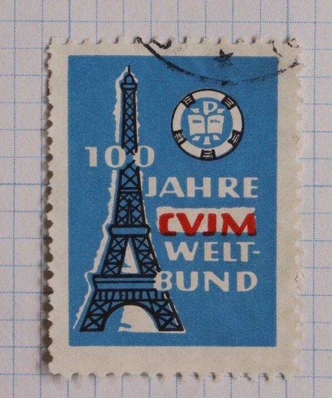 Paris Eiffel Tower 100 years German CVJM YMCA France ad Poster Stamp seal DL