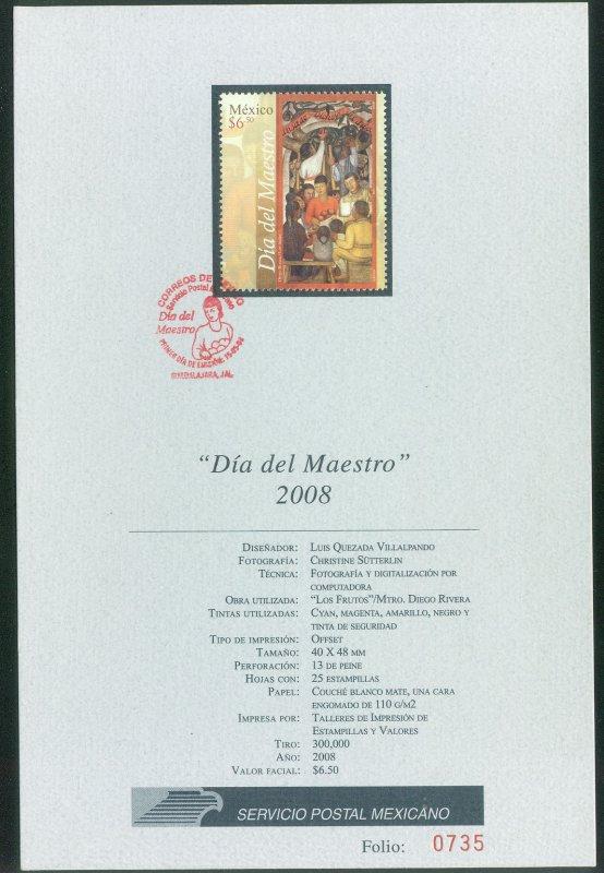 MEXICO 2575,  Teachers Day. TECHNICAL BROCHURE. F-VF.