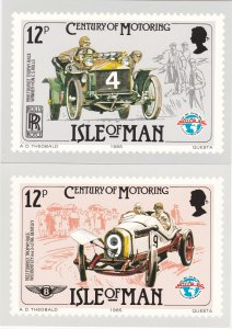 Isle of Man # 284-286, Century of Racing Autos, Maxi Cards, Mint Unused
