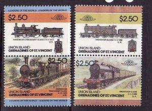 Union Is-Grenadines of St Vincent-Sc#56-7- id7-unused NH set-Trains-Locomotives-