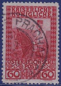 Austria - 1908 - Scott #122 - used - PRACHATICE pmk Czech Republic