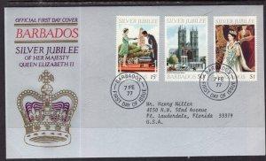 Barbados 452-454 Queen Elizabeth II Silver Jubilee Typed FDC