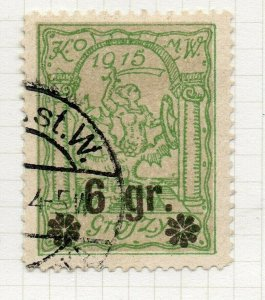 Poland Warsaw 1916 Early Issue Fine Used 6gr. Surcharged Postmark NW-14445