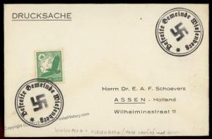 3rd Reich Germany Wiesenberg Sudetenland 1938 Annexation Provisional Cover 72766