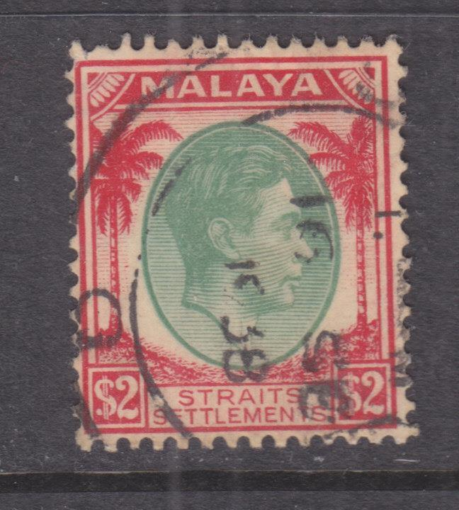 STRAITS SETTLEMENTS, 1938 KGVI $ 2.00 Green & Scarlet, used.