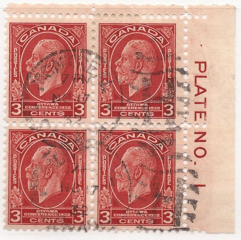 CANADA #192 USED PLATE BLOCK