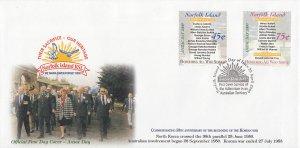 Norfolk Island 2000 FDC Sc #701-702 Set of 2 Anzac Day War Monuments