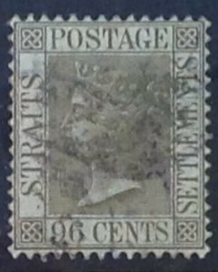 MALAYA STRAITS SETTLEMENTS 1888 96 cents SG71 USED CAT £55