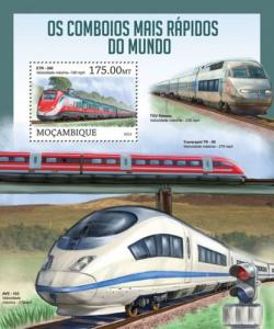 Mozambique MNH S/S High Speed Trains 2013