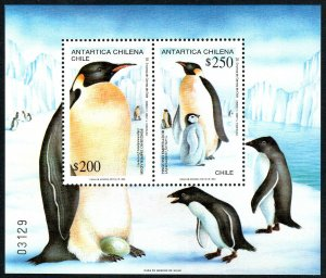Chile 1021a S/S, MNH. Emperor Penguins. Adults with Young, 1992