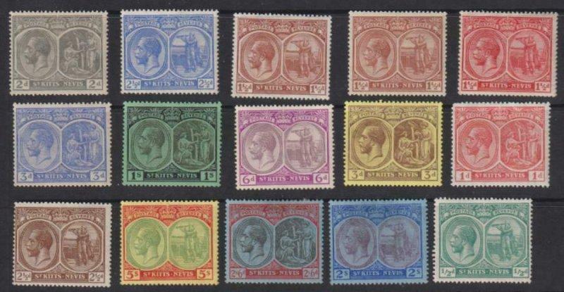 St Kitts-Nevis 1921-29 SC 37-51 MLH