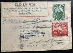 1951 Hamrun Malta First Day Cover FDC To Sherbrooke Canada Scapular Centenary