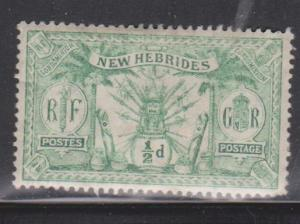 NEW HEBRIDES Scott # 17 MH - Printing Offset On Back