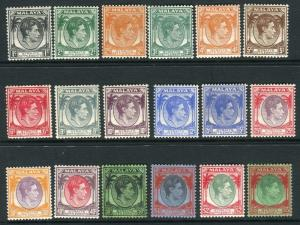 STRAITS SETTLEMENTS-1937-41  A lightly mounted mint set to $5 Sg 278-298