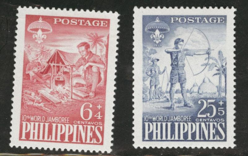 Philippines Scott B10-11 MH* scout semipostal set on white
