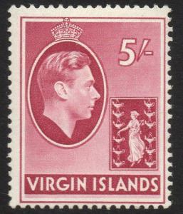 VIRGIN ISLANDS SG119 1938 5/= CARMINE MTD MINT