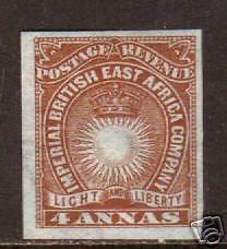 British East Africa Sc 19a MLH. 1890 4a Sun & Crown, Cert.