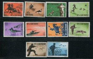 San Marino MNH 477-86 Men Hunting Birds