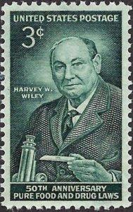 Harvey Wiley - Chemist USA 3 Cent Mint Unused Stamp Never Hinged Scott