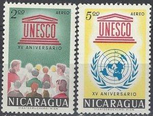 Nicaragua C502-3a  MNH  UNESCO 15th Anniversary 1962