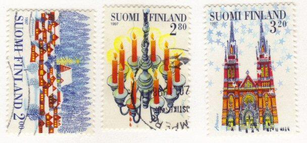 Finland #1062-64 used cpl - Christmas