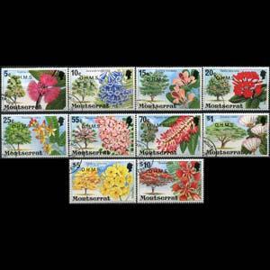MONTSERRAT 1980 - Scott# O20-9 Flowers Opt. Set of 10 CTO
