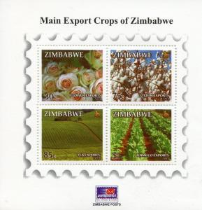 Zimbabwe 2014 MNH Main Export Crops 4v M/S Flowers Roses Cotton Tea Tobacco