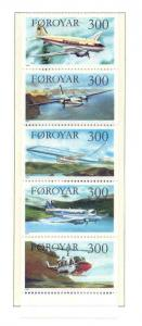Faroe Islands Sc 138a 1985 Airplanes stamp booklet pane mint NH
