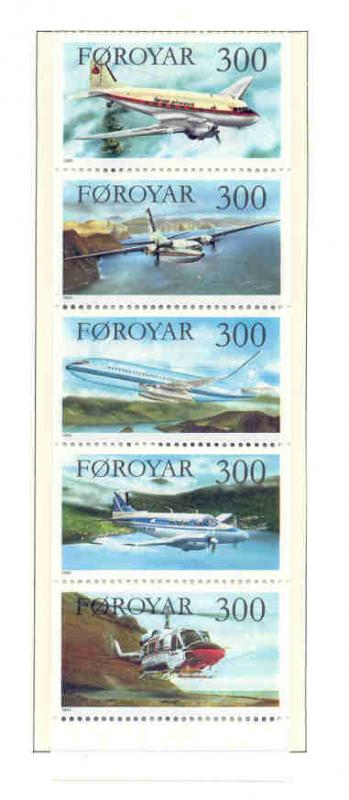 Faroe Islands Sc 138a 1985 Airplanes booklet pane  mint NH