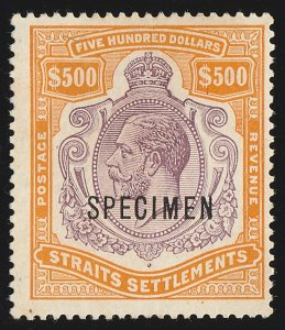 STRAITS SETTLEMENTS : 1912 KGV $500 SPECIMEN wmk mult crown. normal cat £100,000