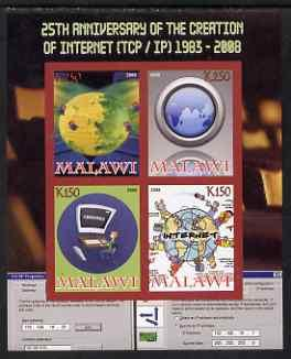 Malawi 2008 Internet 25th Anniversary imperf sheetlet con...