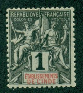 French India #1  Mint  Scott $1.40