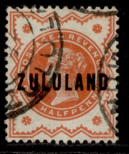 SOUTH AFRICA - Zululand QV SG1, ½d vermilion, FINE USED.