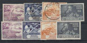 Malaya Singapore KGVI 1949 UPU Sets x 2 SG33/36 FU/MLH J8088
