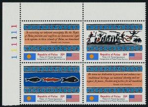Palau 4a TL Block Plate 111111 MNH Inauguration of Postal Service, Flags, Fish