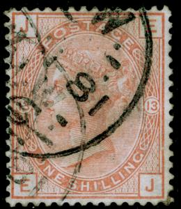 SG163, 1s orange-brown PLATE 13, USED. Cat £160. WMK CROWN. EJ