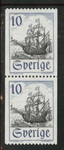 SWEDEN Scott 738 MNH** 1967 Merchant ship stamp coil pairs