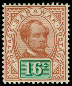 SARAWAK SG43, 16c chestnut & green, LH MINT.