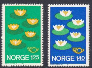 Norway # 688-689, Water Lilies, Mint NH, 1/2 Cat.