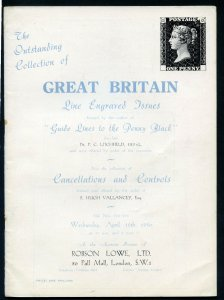 1950 Robson Lowe Outstanding Collection of Great Britain Auction Cat. (BK#26).