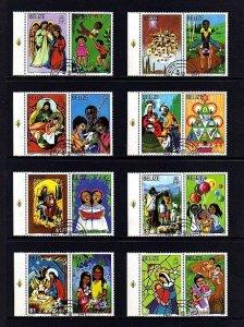 BELIZE - 1980 - CHRISTMAS - NATIVITY - HOLY FAMILY - ANGEL -CTO NH SET + LABELS!