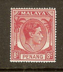 Malaya-Penang, Scott #9, 8c King George VI, MH