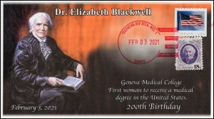 21-021, 2021,Elizabeth Blackwell, Event Cover, Local Postmark, 200th Birthday,